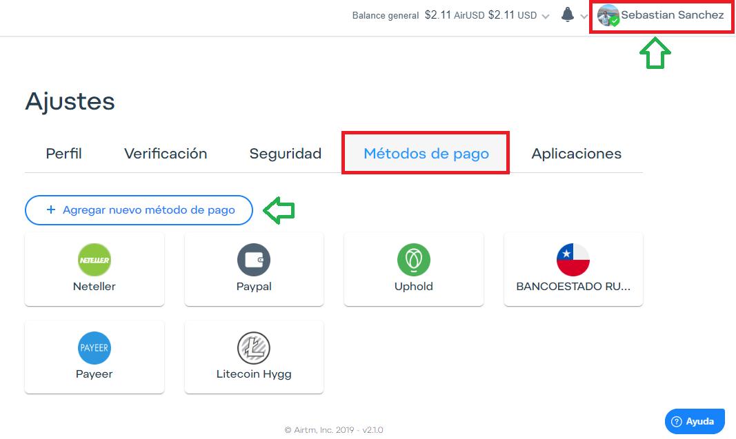 Airtm configurar cuenta