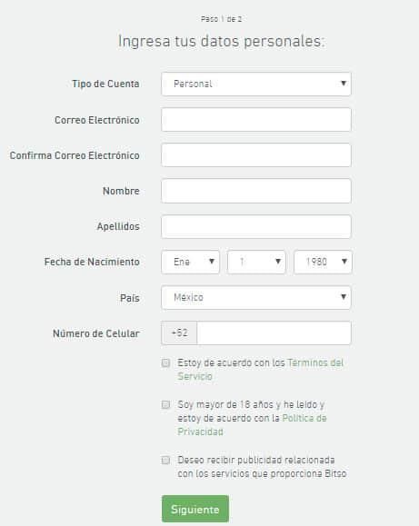Bitso registro