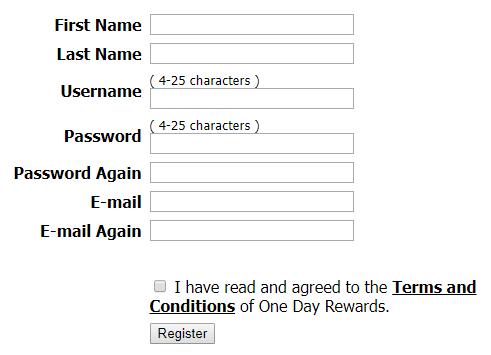 OneDayRewards registro