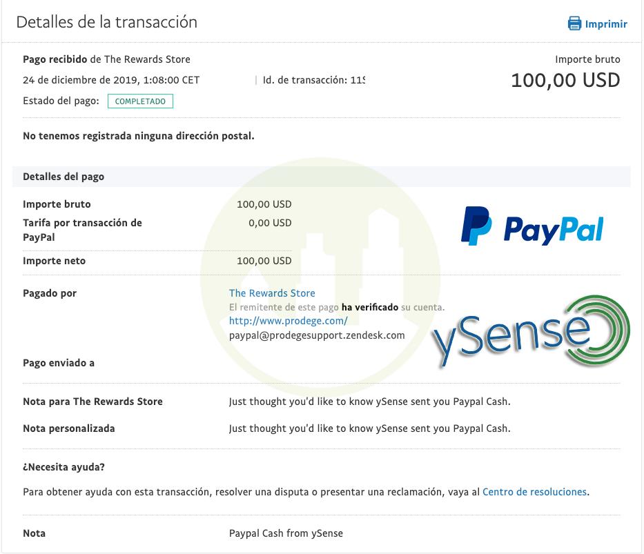 ySense Nuevo Pago [100$ Paypal]