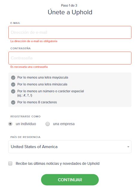 uphold registro