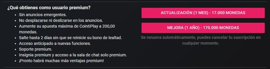Membresia Premium de Cointiply