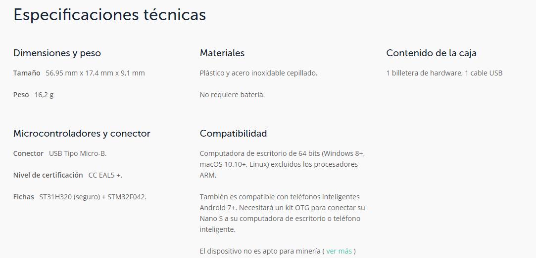 especificaciones técnicas ledger nano s